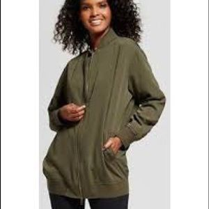WhoWhatWear Long Green Bomber Jacket